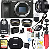 Sony ILCE-6500 a6500 4K Mirrorless Camera Body with 35mm Prime Fixed Lens + 64GB SDXC Memory Card + 0.43x Wide Angle + 2.2x Telephoto Lens Converter + Camera Case + Memory Card Reader + Tripod+More