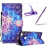 Rope Leather Case for Huawei P8 Lite 2017,Stand Wallet Flip Case for Huawei P8 Lite 2017,Herzzer Bookstyle Stylish 3D Blue Mandala Pattern Magnetic PU Leather with Soft Silicone Inner Back Case for Huawei P8 Lite 2017