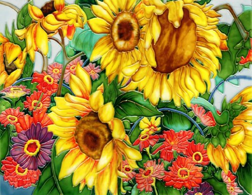 (Gerbera and Sunflower Garden - Decorative Ceramic Art Tile - 11