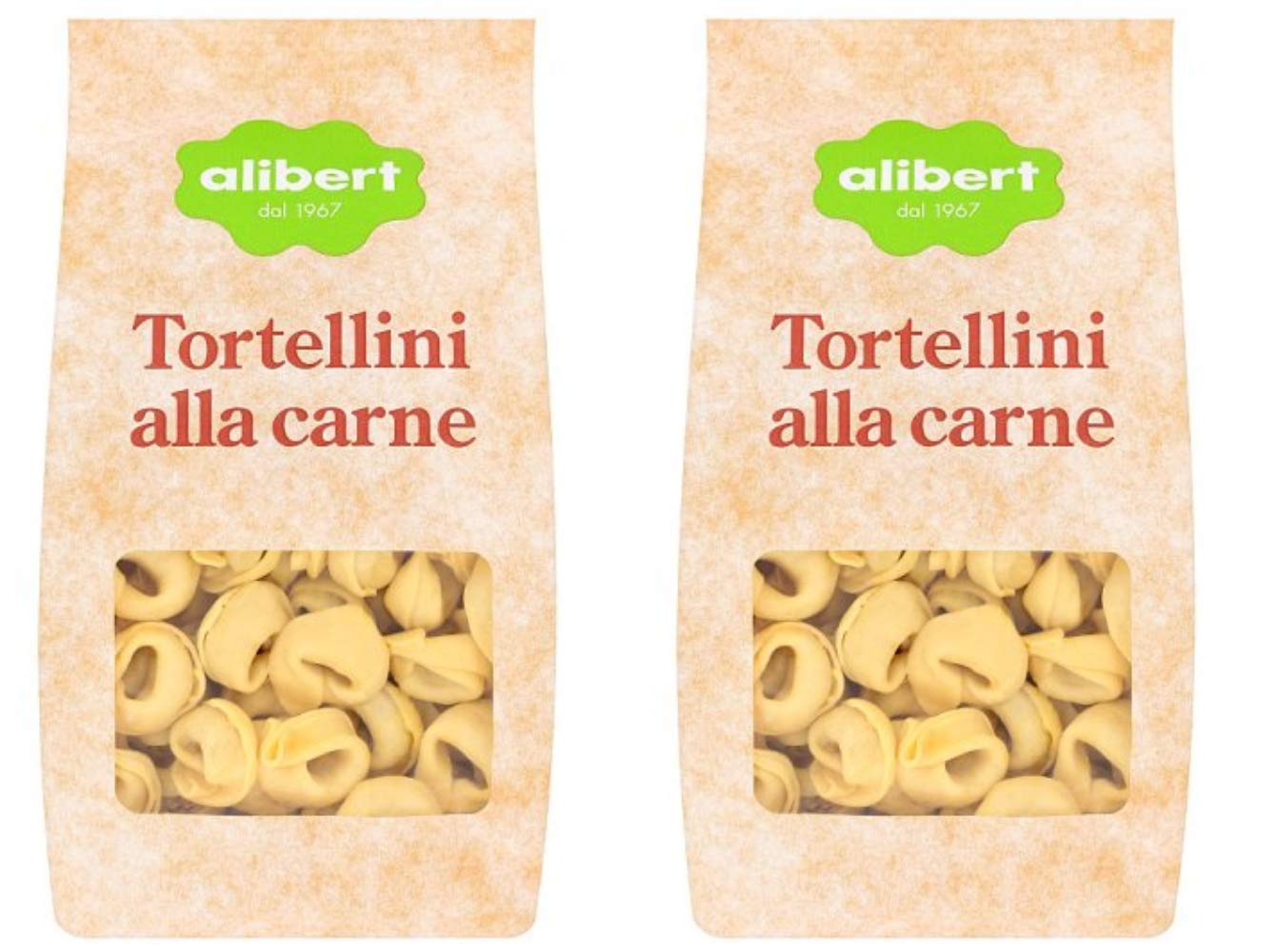 Alibert: Set of 2 Envelopes of Dried Tortellini with Meat - 500 Gr (17.6 Oz) Each [ Italian Import ] by Alibert