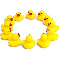 20PCs Toys Mini Yellow Ducks Squeaky Rubber Cute Bath Toy Beach Toy