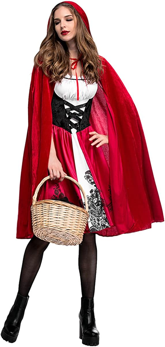 RED RIDING HOOD COSTUME WITH CAPE AND WOLF EARS CHILD FANCY DRESS 3 SIZES