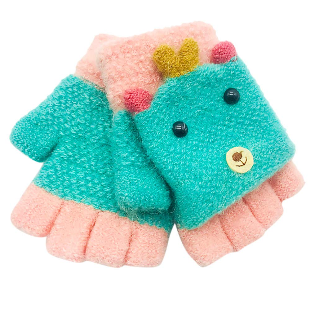 Toddler Baby Gloves For 1-3 Years Old, Vovotrade Newborn Boys Girls Patchwork Knitted Gloves Winter Warm Full Fingers Gloves 2018