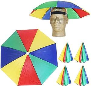 Looney Zoo Funbrella Hats - Colorful Umbrella Hat - Tie Dye Tropical Pizza Patriotic -Rain Sun Cover, Elastic Fit for Adults & Kids (The Rad Rainbow, 1 Umbrella Hat)