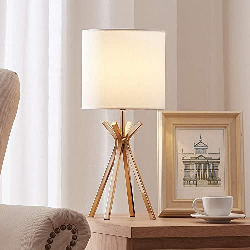 CASILVON Modern Design Gold Metal Base Living Room Bedroom Bedside Table Lamp, Table Lighting with TC Fabric Shade Desk Lamps