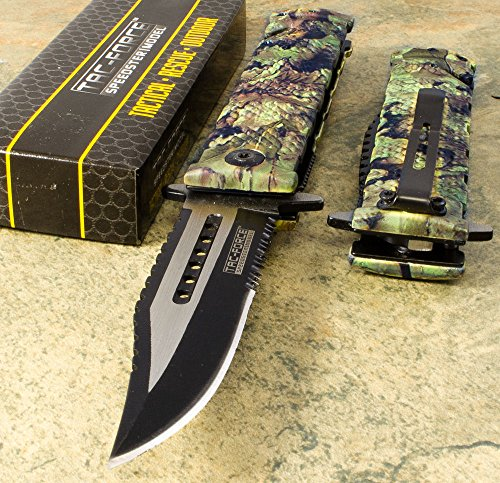 Tac Force JUNGLE CAMOS pring Assisted Open Folding Pocket knife (Knife Throwing Costume)