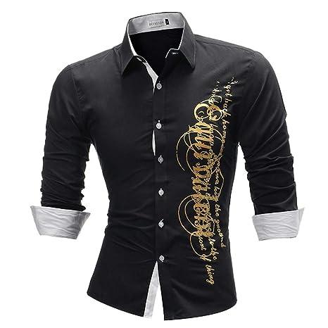Camisa de Vestir Slim fit para Hombre Camisa de Vestir con ...