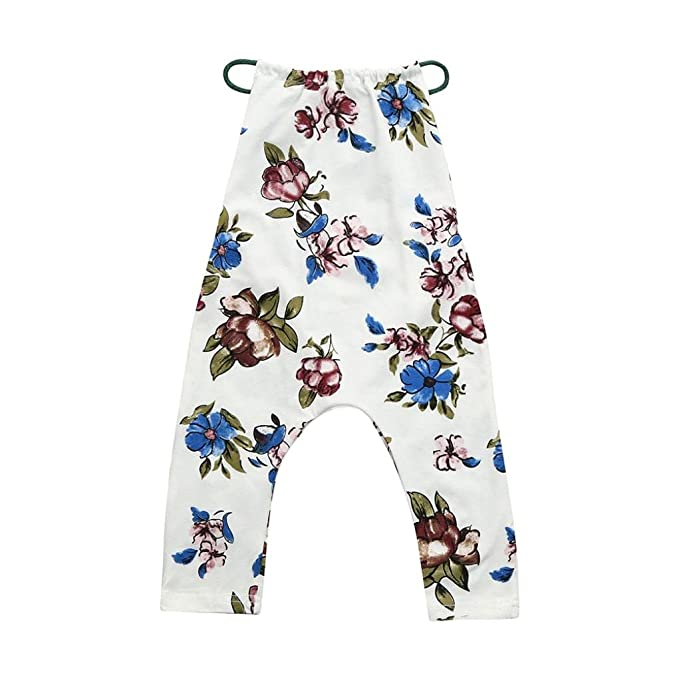 eeb6e8260e1 Fiaya Kids Toddler Baby Romper Floral Strap Sleeveless Halter Jumpsuit  Outfits for NB-4T (
