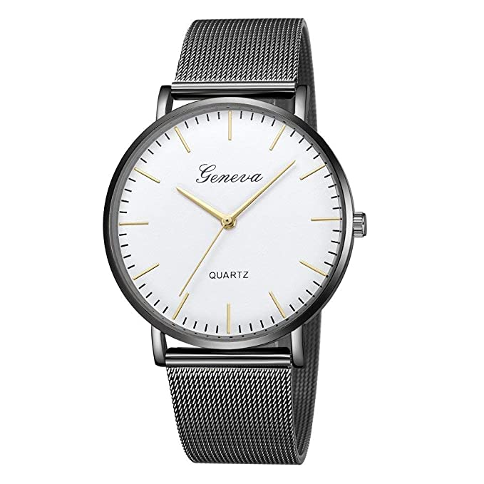 74295a317af6 Amazon.com  New Explosion Geneva Womens Men Watches Simple Classic Quartz  Stainless Steel Bracelet Wrist Watch Fashion Casual Watch  Clothing