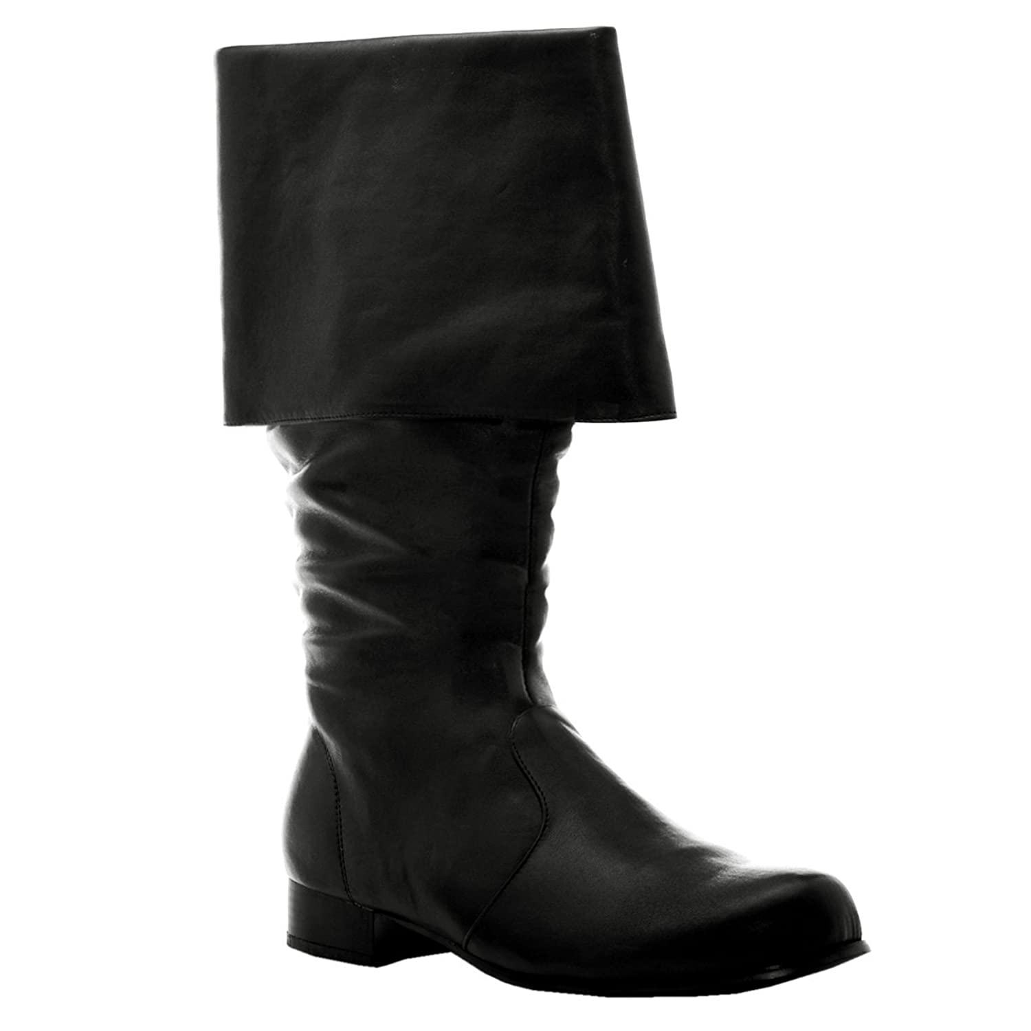 1 inch Heel (Mens Sizes) Cuffed Pirate Knee Boot Black or Brown
