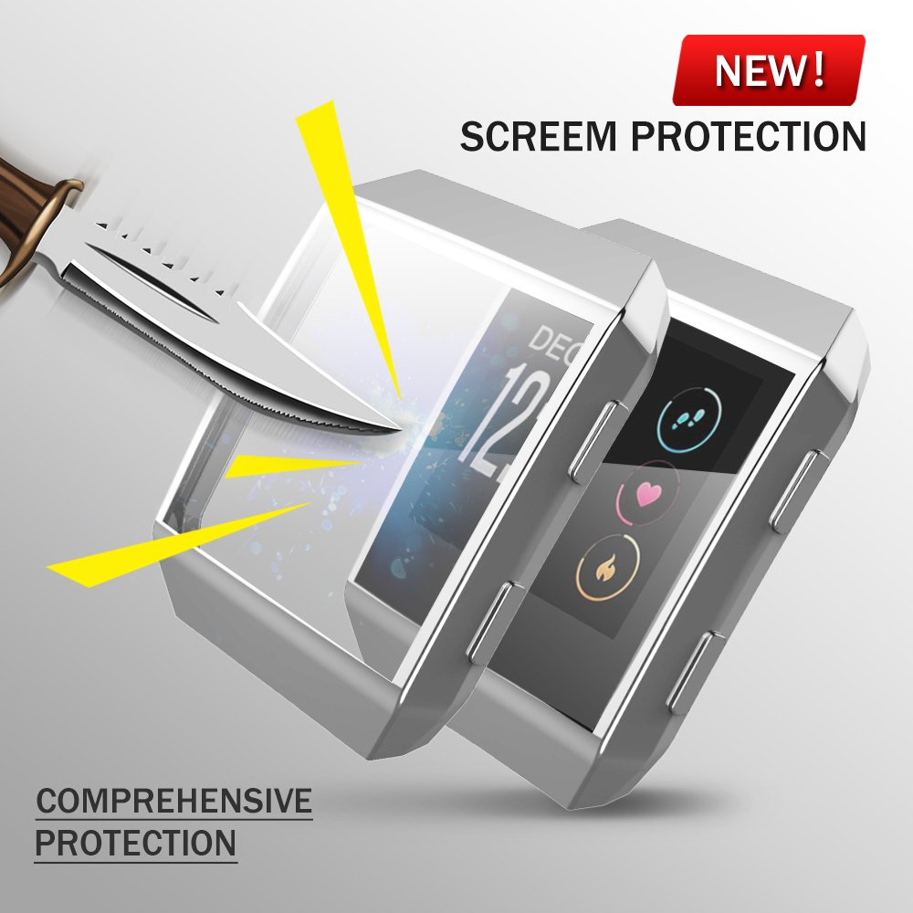 Fitbit Ionic Watch protect Case,Omni-directional Protect Screen Soft TPU Ultra-thin HD Clear Cover for Fitbit Ionic smart Watch (clear+silver) by ZRXS (Image #5)
