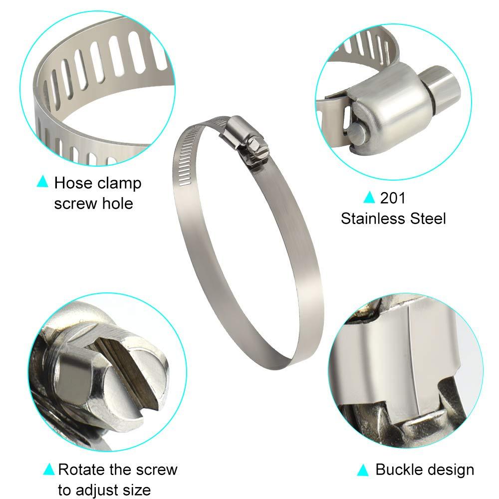 TUPARKA 8 piezas de metal abrazadera de clip abrazadera 91-114 mm di/ámetro di/ámetro acero inoxidable abrazadera para tubo flexible de manguera