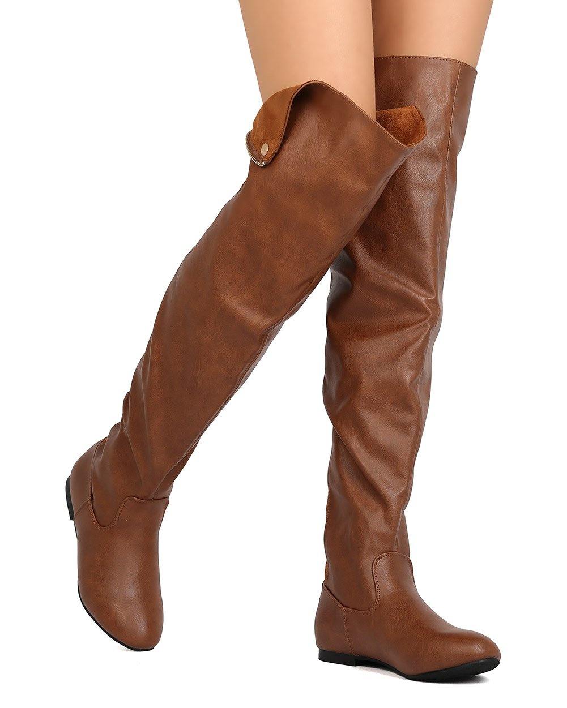 ShoBeautiful Women Over The Knee Flat Boots Snap Cuff Back Zipper Fashion Long Boots Tan 6