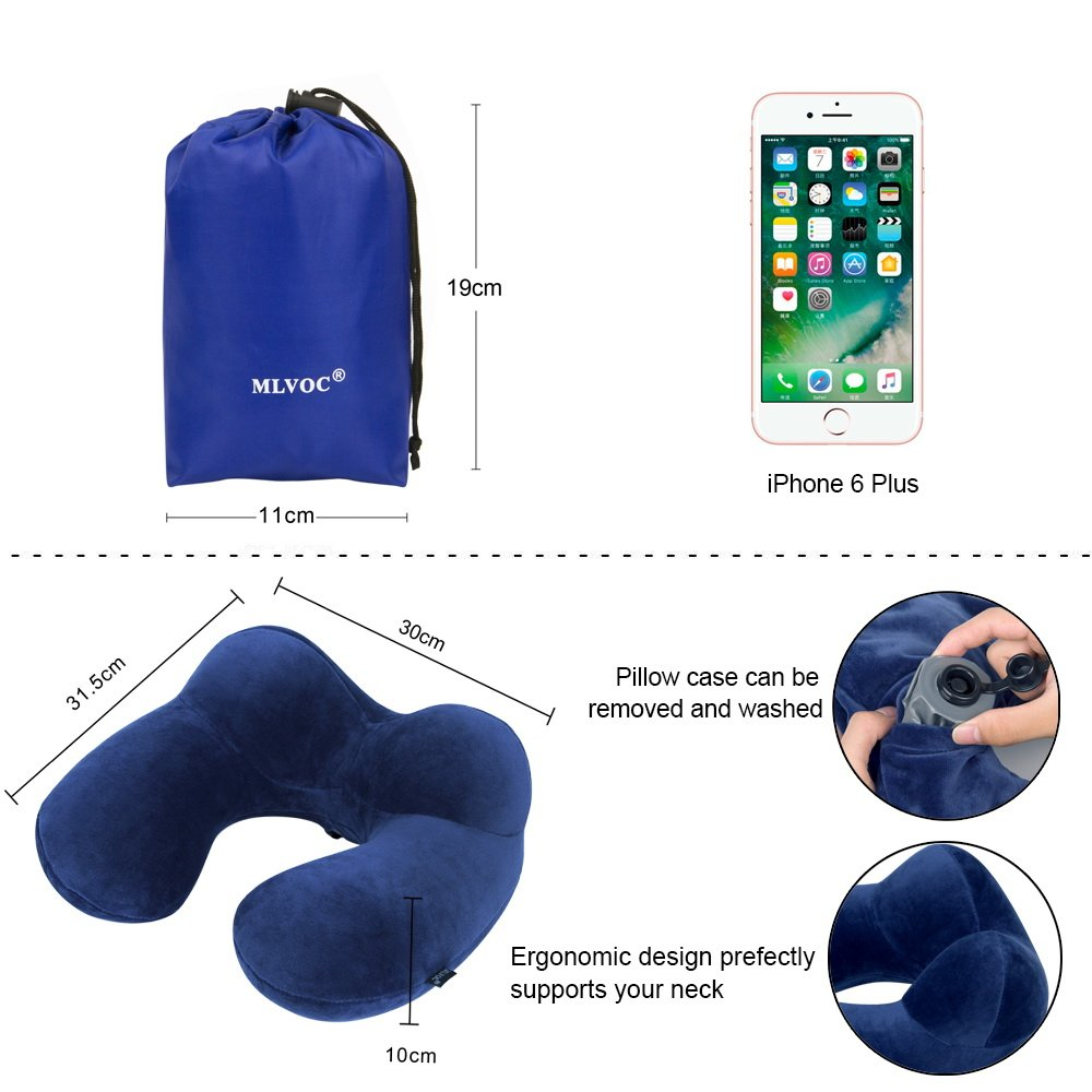 Brown PLB-1 Eye Mask and Drawstring Bag LIANSING Soft Velvet Inflatable Travel Pillow for Airplanes with Free Ear Plugs