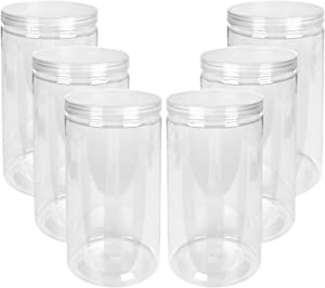 6 PCS Plastic Jar with Lid 48oz Clear PET Seal Jar, Round Wide Opening Storage jar for Kitchen, Household, Craft Storage