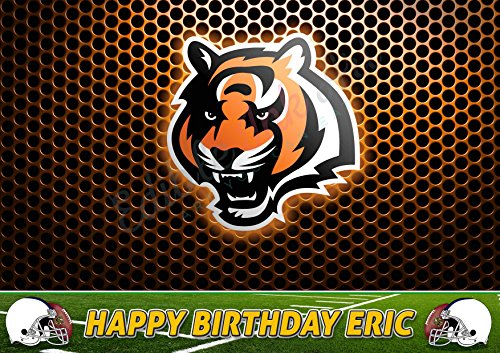 Cincinnati Bengals Sugar - Cincinnati Bengals NFL Edible Cake Image Topper Personalized Icing Sugar Paper A4 Sheet Edible Frosting Photo Cake 1/4 ~ Best Quality Edible Image for cake