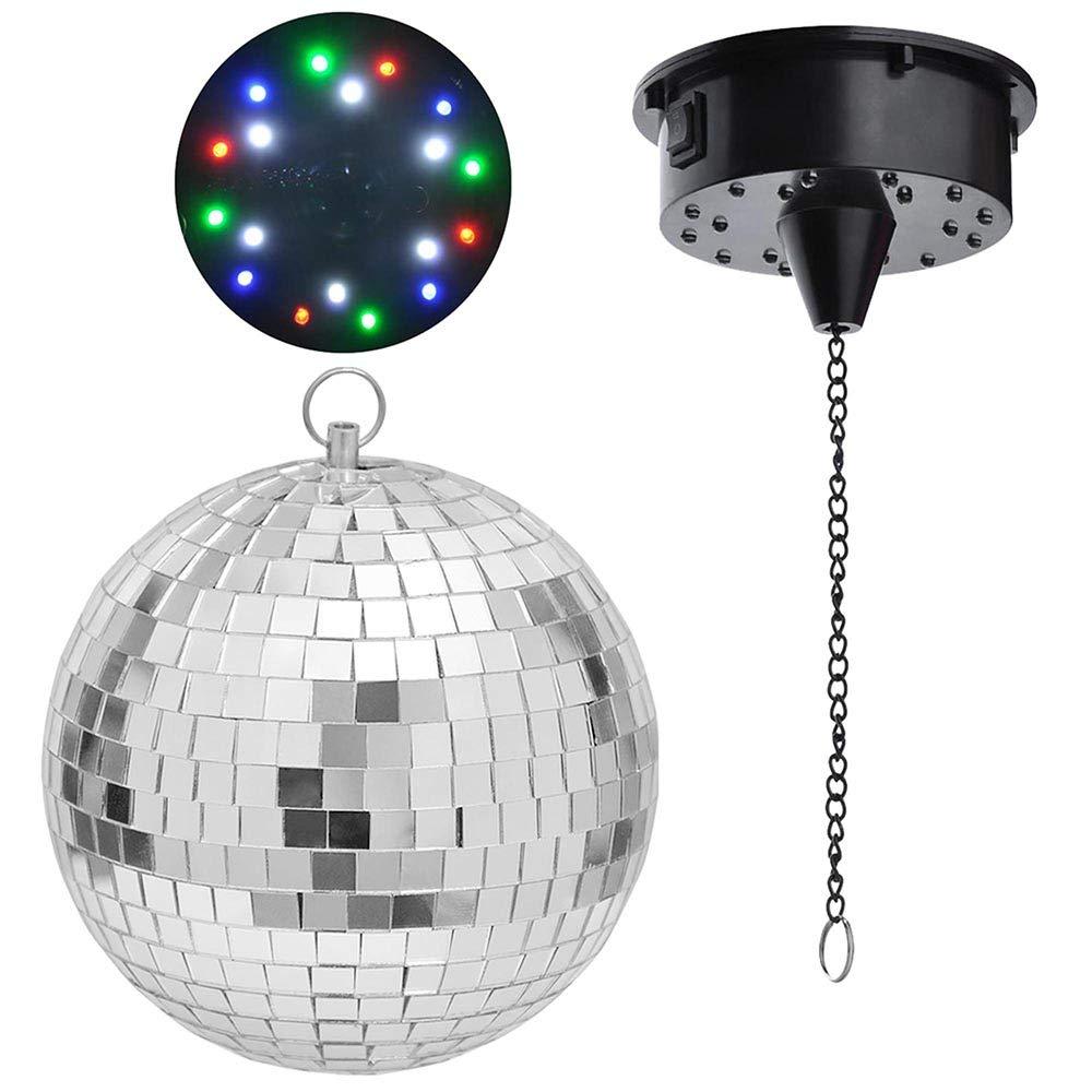Yescom 12'' Mirror Disco Ball w/Rotating Motor & 3W 3 Blue LED Pinspot Spot Light Kit Home Party Club Lighting by Yescom (Image #6)