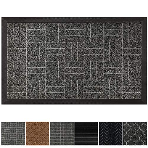 GRIP MASTER Durable, Tough All-Natural Rubber Doormats, 29x17 Size, Waterproof Commercial High Traffic Indoor Outdoor Door Mat, Boots Scraper Mats, Entryway, Low-Profile, Easy Clean, Charcoal Stripes
