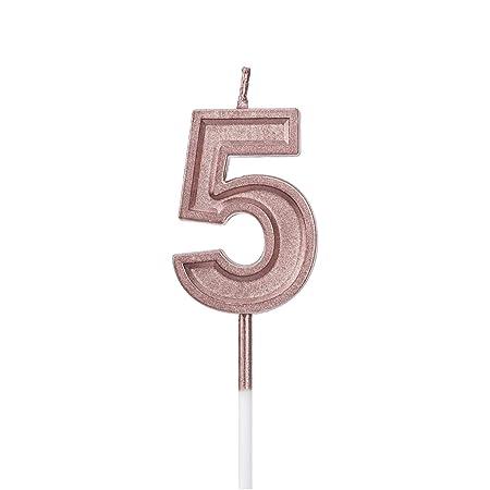 LUTER Rose Gold Glitter Feliz Cumpleaños Pastel Velas Número Velas Cumpleaños Vela Cake Topper Decoración para Fiesta Niños Adultos (Numero 5)