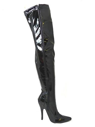 8c5f6b98ee38 Bismaa Womens Ladies Sexy Thigh High Kinky Fetish Over The Knee Stiletto  Heel Full Side Zip