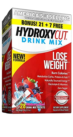 1508f25b6a9 Amazon.com: Hydroxycut Drink Mix Weight Loss Supplements, Burn Calories &  Get Naturally Sourced Energy, No Sugar, Wildberry Blast, 21 Servings (51g):  Health ...
