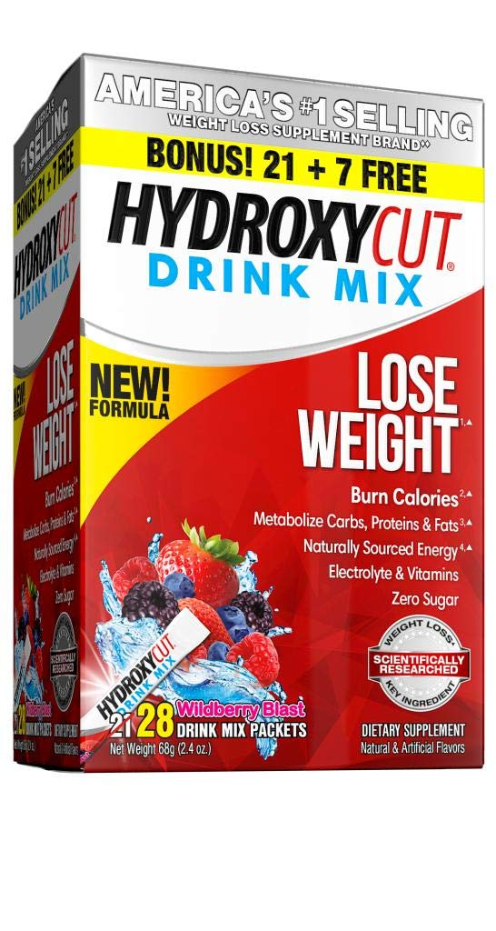 Hydroxycut Drink Mix, Scientifically Tested Weight Loss and Energy, Weight Loss Drink, Wild-Berry Blast, 28 Packets, 2.5 ounce