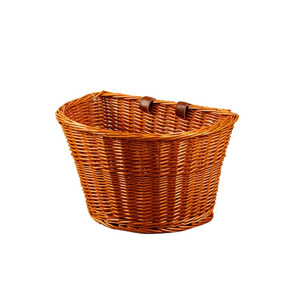 Chen0-super Large Handmade Willow Bicycle Basket Traditional Retro Wicker Bicycle Front Basket Leather Straps Handlebar