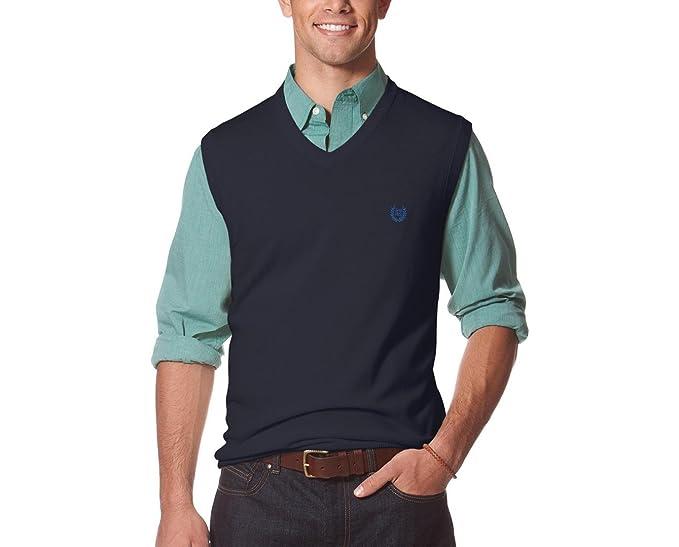 Amazoncom Chaps Mens Big Tall Sweater Vest 3xb Navy Clothing
