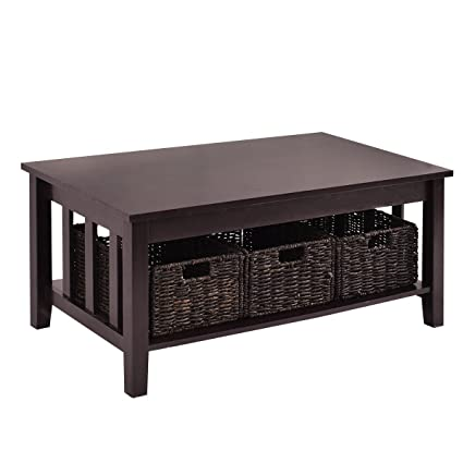 Merveilleux Premium Low Wooden Woodgrain Coffee Table With 3 Wicker Baskets And Lower  Shelf For Contemporary Home