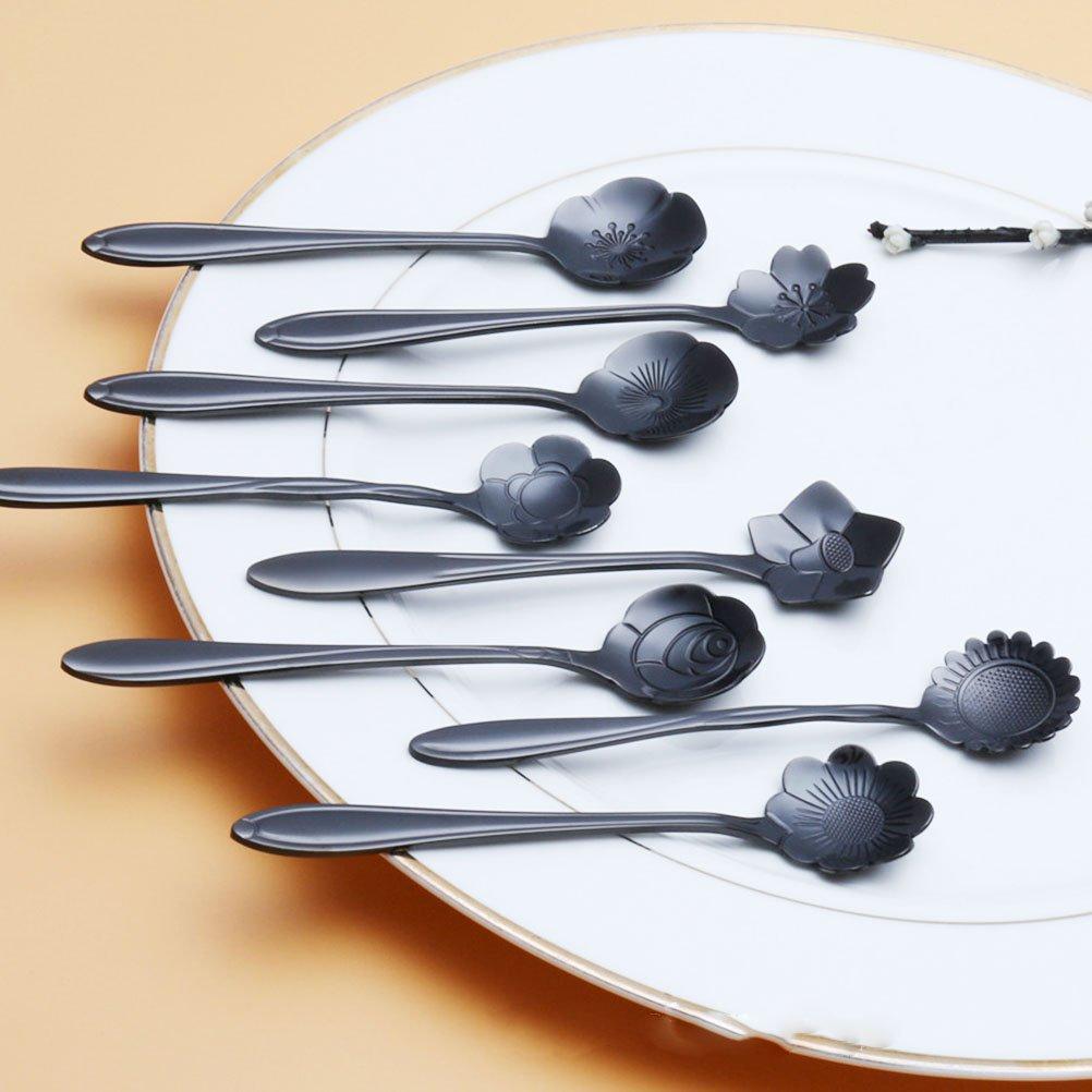 aowa vajilla flor forma azúcar cubiertos de plata cuchara de café té negro de té helado de acero inoxidable utensilios de cocina, Cosmos: Amazon.es: Hogar