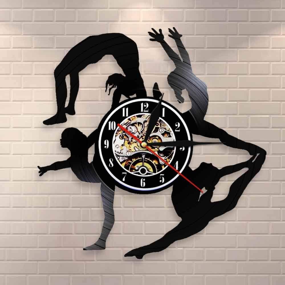 BFMBCHDJ Gimnasia Niñas Siluetas Reloj de pared Deportes Chica Tumbling Vinyl Record Clock Gimnasta Arte de pared Sala de baile Decoración de pared con LED 12 pulgadas