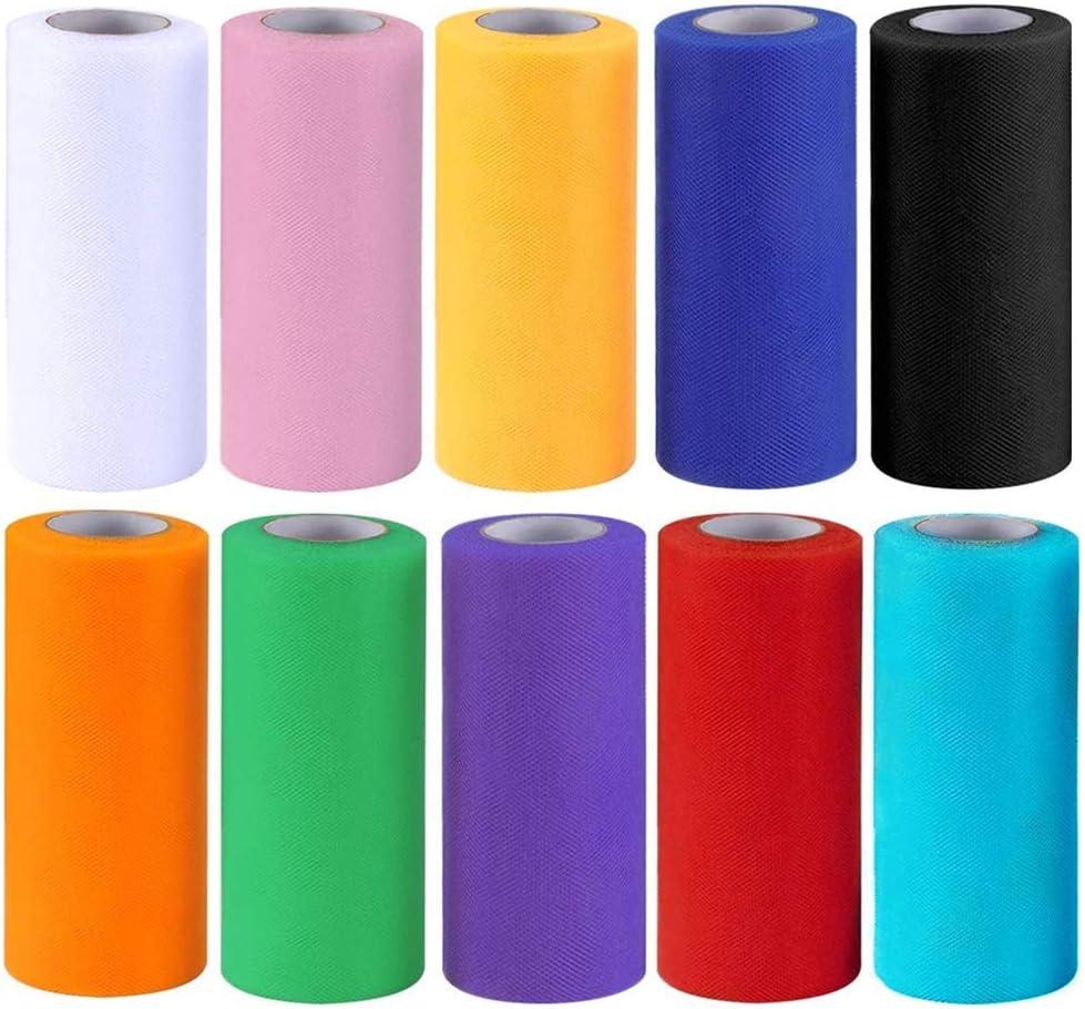Rollo de Tul 10 rollols de Tul Tela Multicolor 6 pulgadas 25 yardas Rollos de Tul para Bodas Fiestas Tela Enrollada de Tul de Bricolaje Decoración Artesanal 10 colores