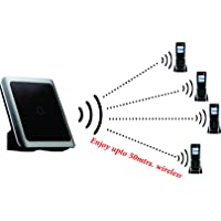 SAGEMCOM-4 Wireless INTERCOM Cordless Phone with Base Range of 50 Meters Also Support BSNL/MTNL LINE (White)
