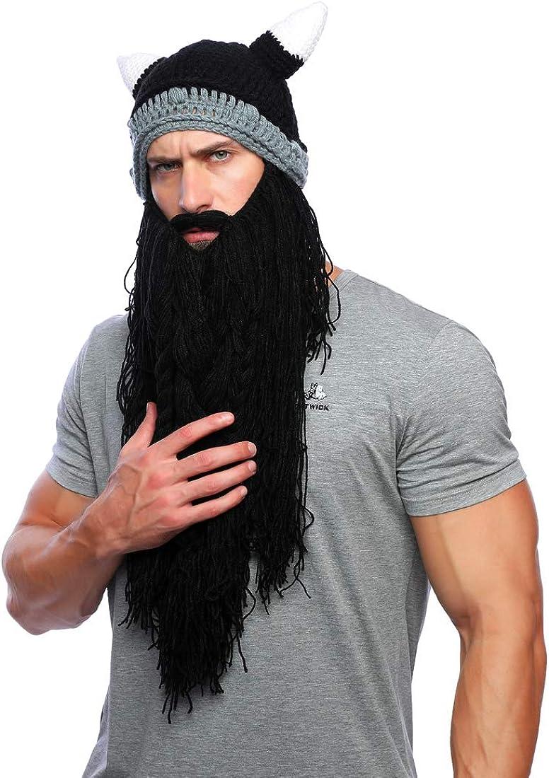 Xinqiao Men/'s Viking w//Fake Beard Beanie Handmade Knit Funny Hats Pillager Horned Caps