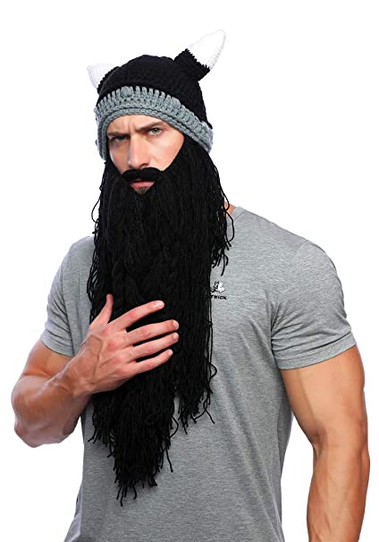 0bf8c0b2 Xinqiao Mens Viking Barbarian Beard Beanie Funny Pillager Looter Horned Hats