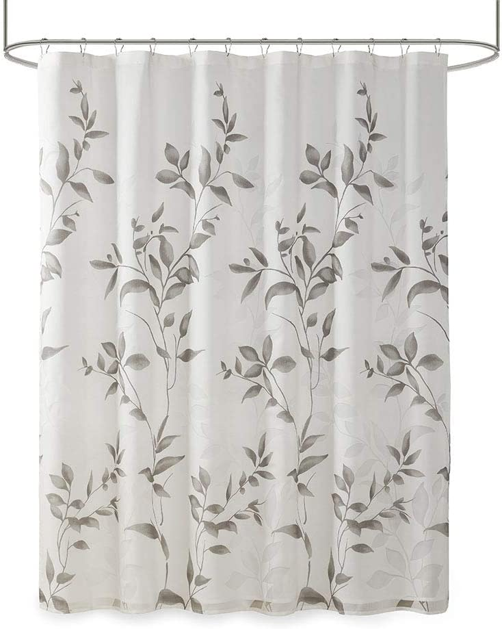 """Madison Park Cecily Botanical Modern, Contemporary Design Water Repellent Shower Curtains for Bathroom, 72 X 72, Grey, 72x72 72x72"""" Grey"""