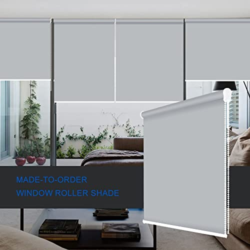 ZY Blinds Blackout Roller Shades Custom Made Any Size from 20-78inch Wide UV Protection Enery Saving Block 100 Light Window Shades Blinds for Home, Hotel, Club, Restaurant 73 W x 72 L, Light Grey