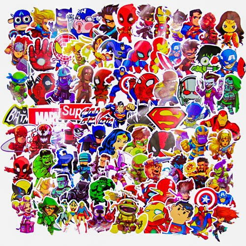 Laptop Stickers(100pcs),Superheros Computer Stickers for Water Bottles,Vinyl Stickers for Laptop Skateboard Luggage Decal Graffiti Patches Stickers in Bulk -