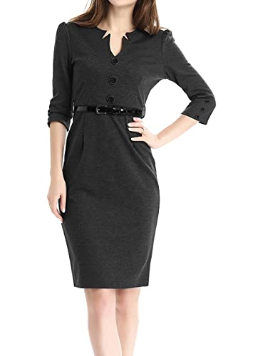 Jusfitsu Women's Vintage V-Neck 3/4 Sleeve Belt Business Pencil Cocktail Dress