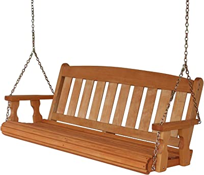 Amish Heavy Duty 800 Lb Mission 5ft. Treated Porch Swing - Cedar Stain