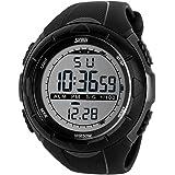 SunJas 5ATM impermeabile Sport orologio da polso da uomo Fashion digitale schermo LCD cronometro data cronografo allarme Gomma-Sport-Orologio da polso