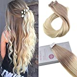 Moresoo 18 Inch Glue on Hair Piece Tape in Hair Extensions 20pcs/50g Ombre Color Ash Blonde Fading to Bleach Blonde Straight Remy Human Hair Soft and Silky Hair For Sale