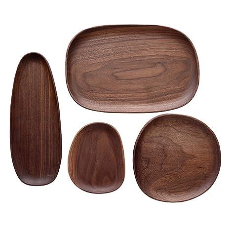 Platos llanos Platos y fuentes Vajilla Cubertería Placa de placa de desayuno de madera, conjunto