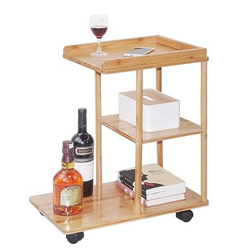 Amazon.com: Mesa auxiliar de bambú para sofá con ruedas para ...