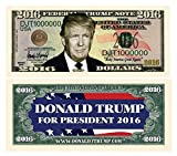 Special 2016 Election Dollar Bill featuring Donald Trump! OWN A PART OF HISTORY! Same size as actual currency. Great for resale or use in promotions.  A COLLECTIBLE FOR ALL AGES.