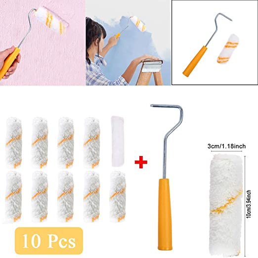 10Pcs Paint Roller Kit Roller Paint Brush Mini Foam Paint Roller 4 Inch for Home Wall Ceiling Decoration