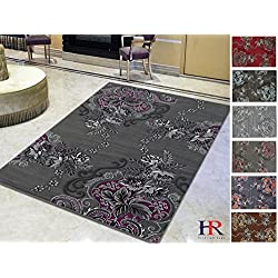 Handcraft Rugs Purple/Gray/Silver/Black/Abstract Area Rug Modern Contemporary Flower-patterned Design