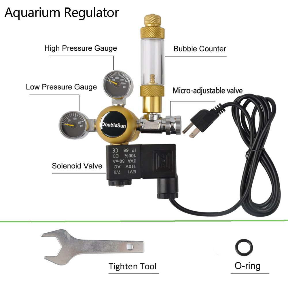 DoubleSun Hydroponics Aquarium CO2 Regulator Made of Brass-Bubble Counter Check Valve Fits Standard US Tanks and Flow Meter Adjusted Easily-Maintain CO2 Levels for Your Plant(Dual Gauge) by DoubleSun