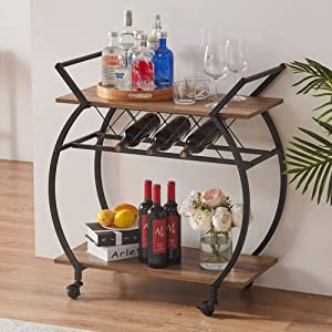 """LVB Bar Cart, 2 Tier Kitchen Cart with Wheels, Modern Wood and Metal Portable Coffee Cart Table,Industrial Mobile Serving Cart with Wine Rack Shelves, Rustic Brown, 30""""W x 15.75""""D x 34.2""""H"""