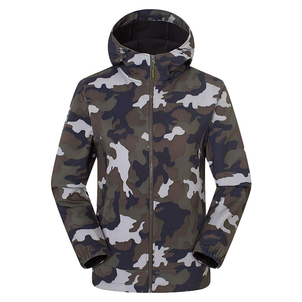 Men Hooded Waterproof Jacket 2019 New Windproof Camouflage Raincoat (XL, Army Green) by Ruichao Men Tops